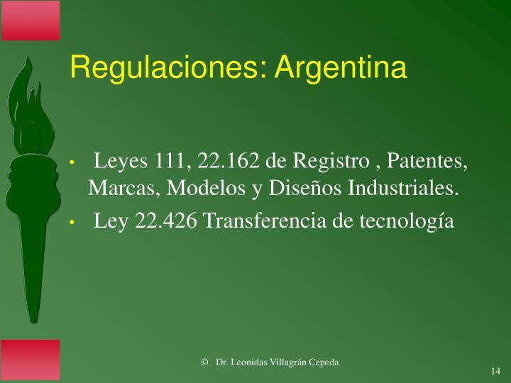Regulaciones: Argentina