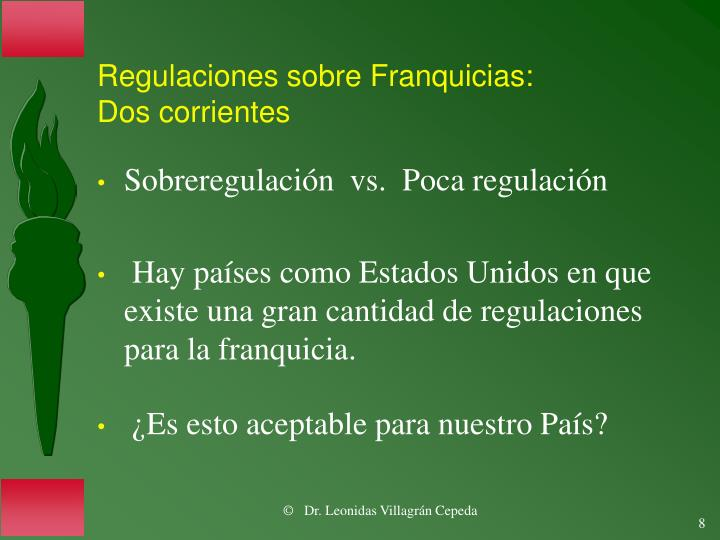 Regulaciones sobre Franquicias: