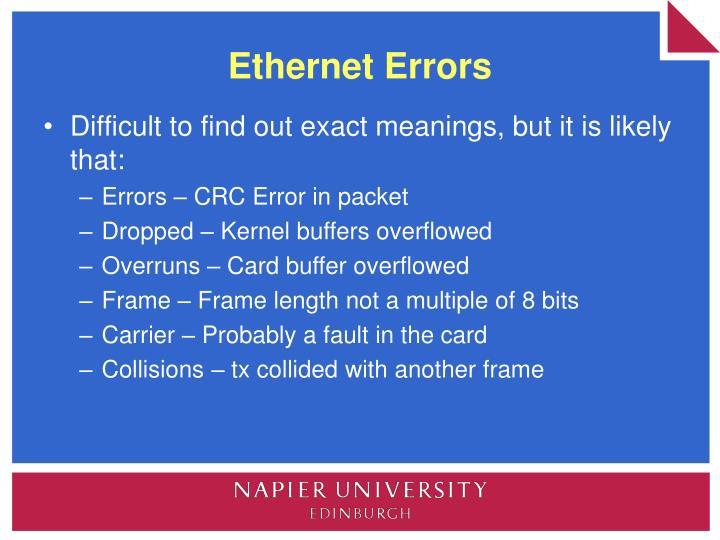 Ethernet Errors