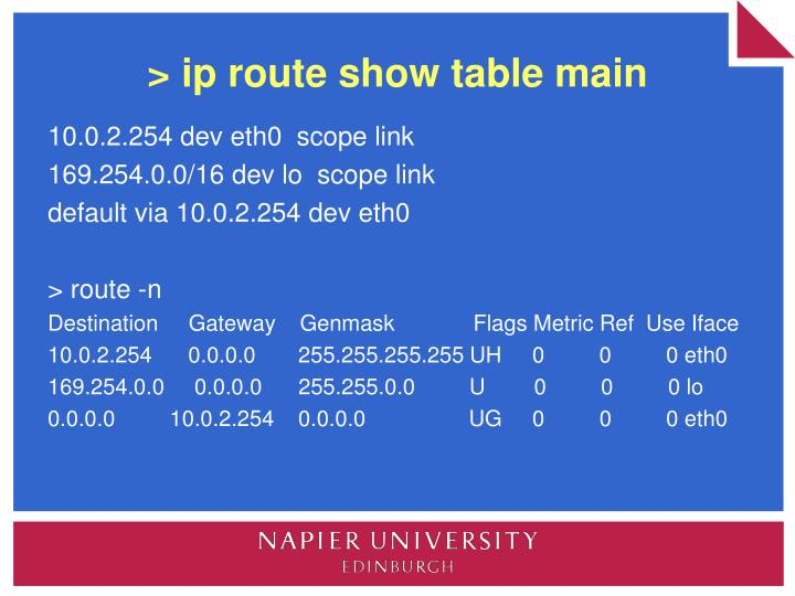 > ip route show table main
