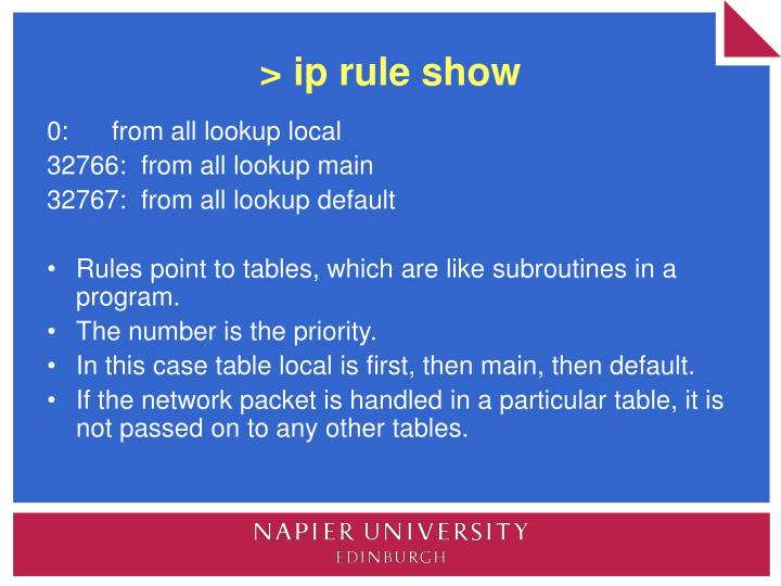 > ip rule show