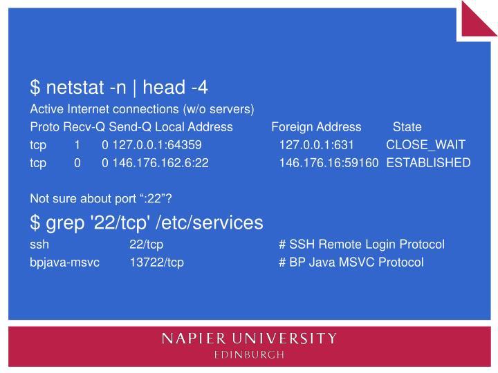 $ netstat -n | head -4