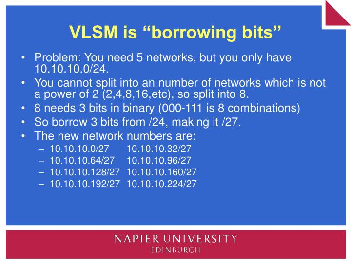 "VLSM is ""borrowing bits"""