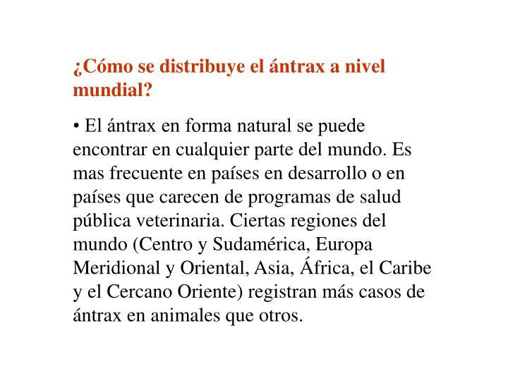 ¿Cómo se distribuye el ántrax a nivel mundial?