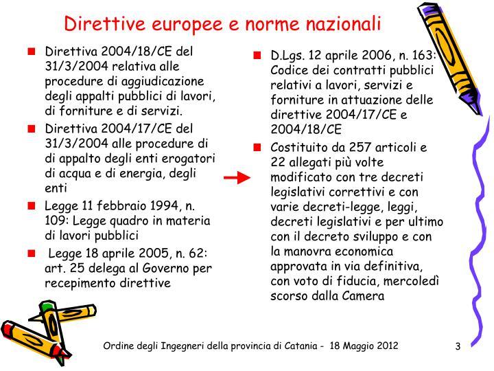 Direttive europee e norme nazionali
