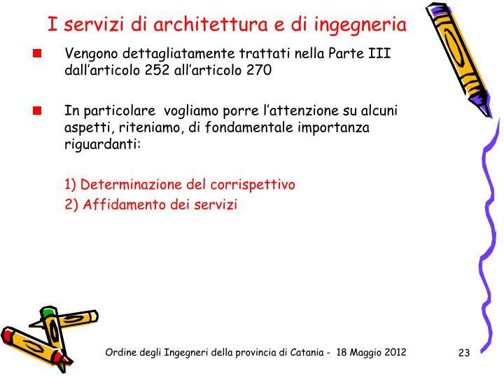 I servizi di architettura e di ingegneria