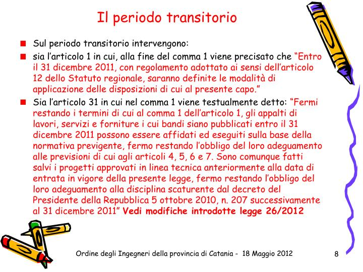 Il periodo transitorio