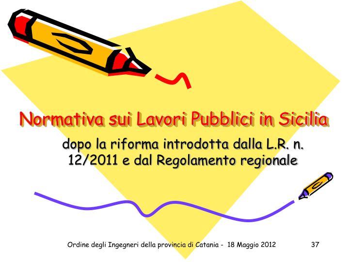 Normativa sui Lavori Pubblici in Sicilia