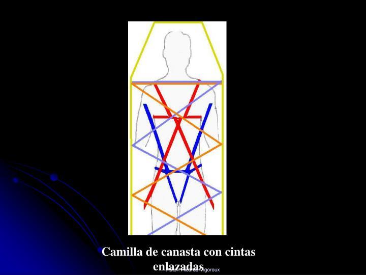 Camilla de canasta con cintas enlazadas