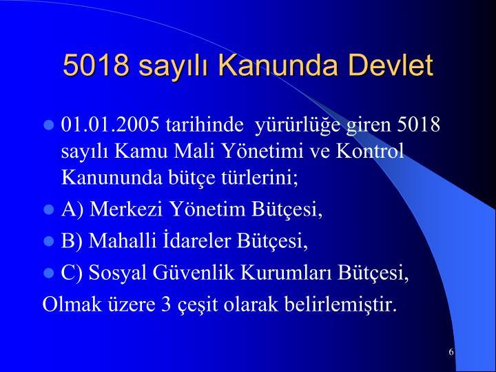 5018 sayılı Kanunda Devlet