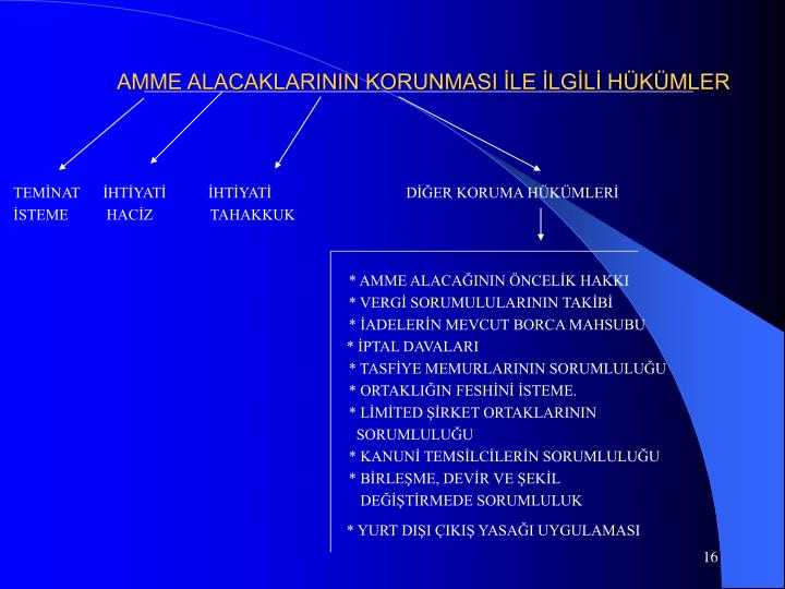 AMME ALACAKLARININ KORUNMASI İLE İLGİLİ HÜKÜMLER