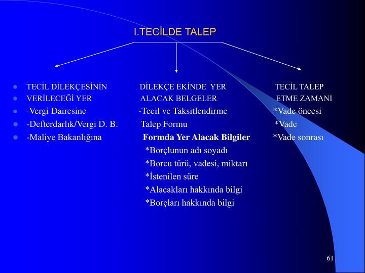 I.TECİLDE TALEP