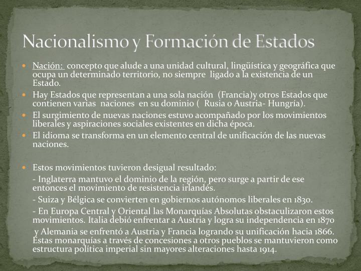 Nacionalismo y Formación de Estados
