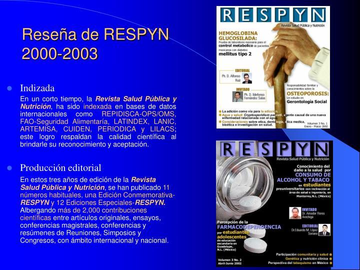 Reseña de RESPYN 2000-2003