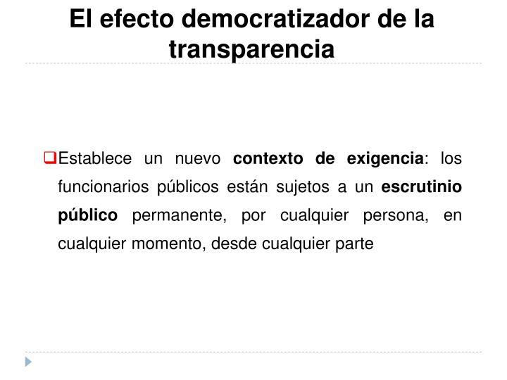 El efecto democratizador de la transparencia