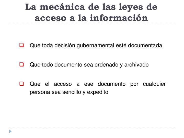 La mecánica de las leyes de acceso a la información