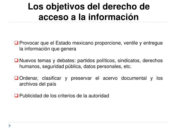 Los objetivos del derecho de acceso a la información
