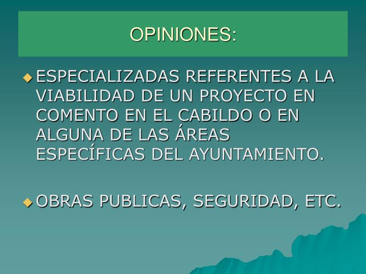 OPINIONES: