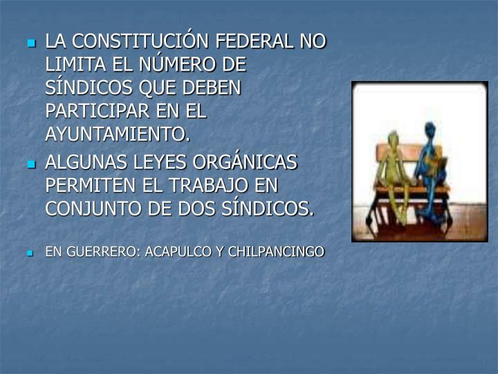 LA CONSTITUCIN FEDERAL NO LIMITA EL NMERO DE SNDICOS QUE DEBEN PARTICIPAR EN EL AYUNTAMIENTO.