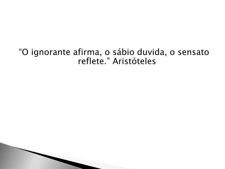 """""""O ignorante afirma, o sábio duvida, o sensato reflete."""" Aristóteles"""