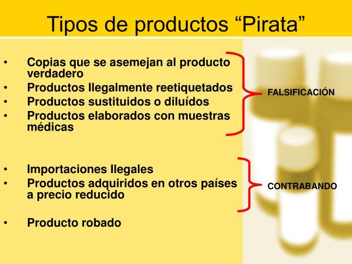 "Tipos de productos ""Pirata"""