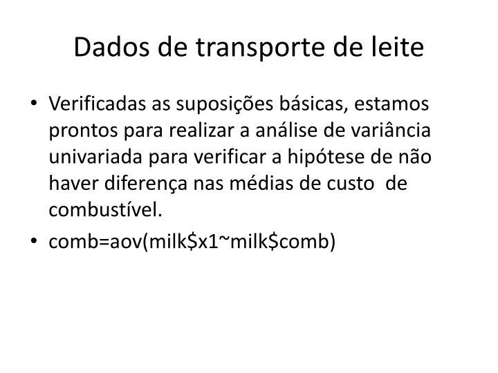 Dados de transporte de leite