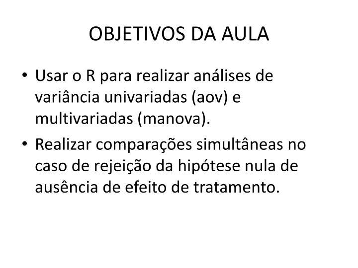OBJETIVOS DA AULA