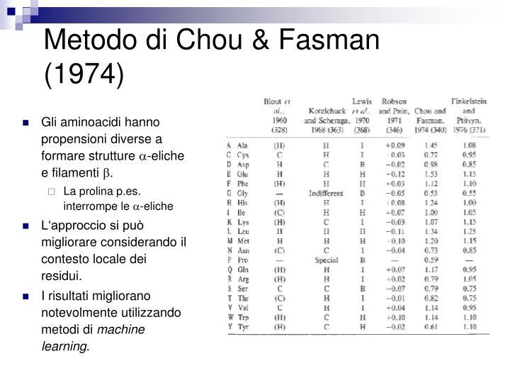 Metodo di Chou & Fasman (1974)