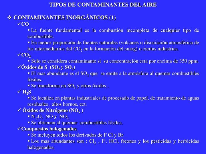 TIPOS DE CONTAMINANTES DEL AIRE