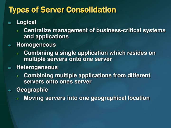 Types of Server Consolidation