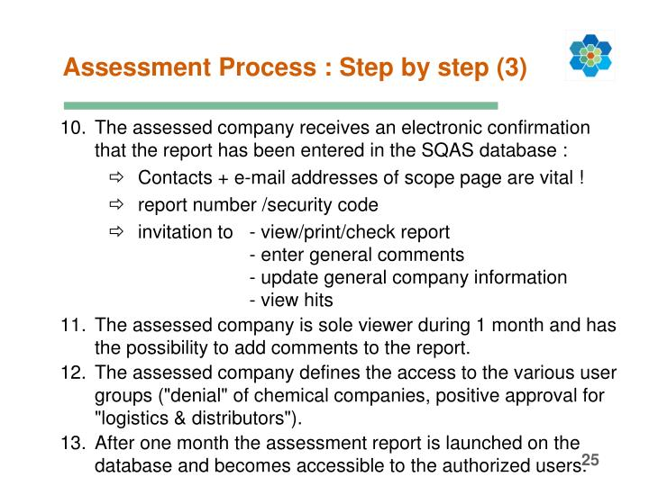 Assessment Process : Step by step (3)