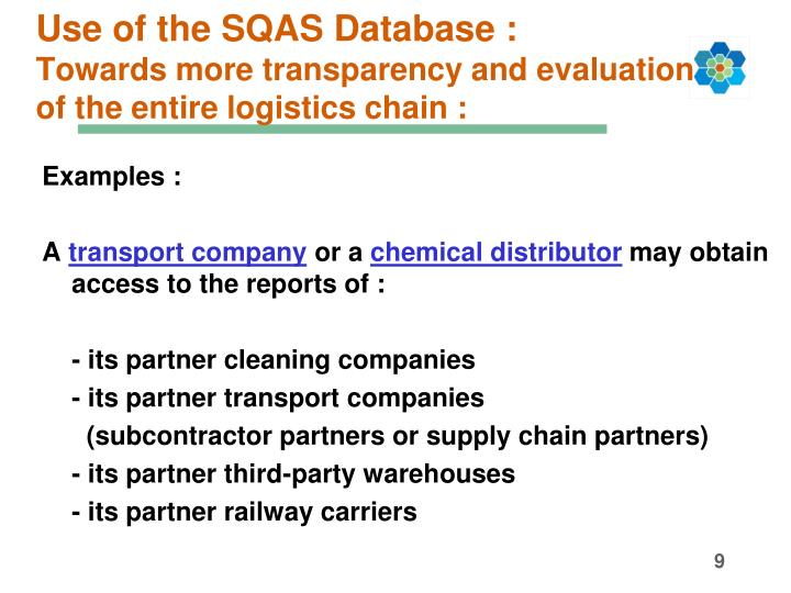 Use of the SQAS Database :