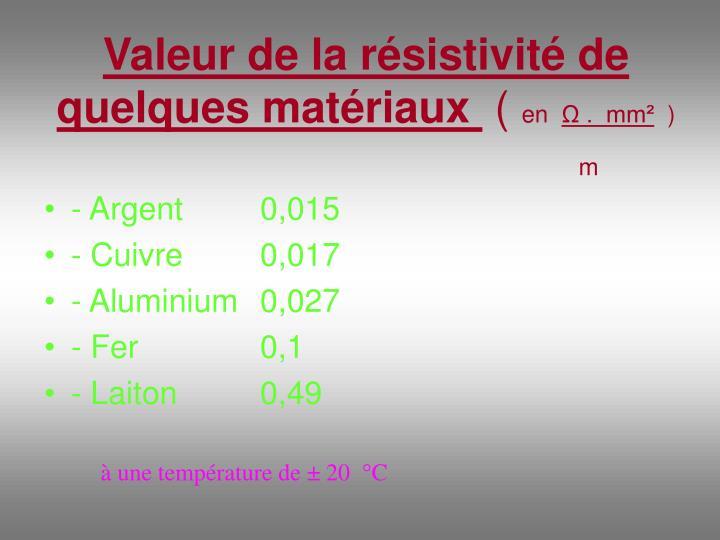 Valeur de la résistivité de quelques matériaux