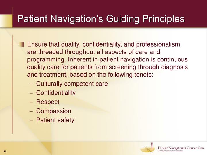 Patient Navigation's Guiding Principles