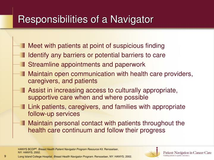 Responsibilities of a Navigator