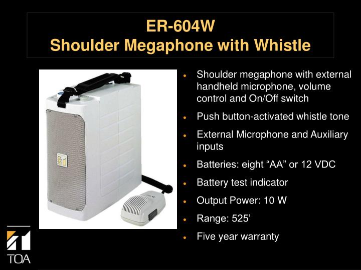 Er 604w shoulder megaphone with whistle
