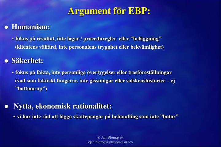 Argument för EBP: