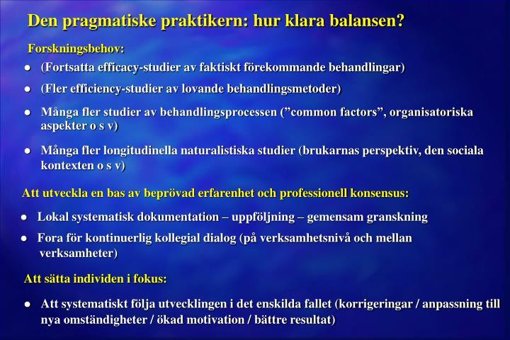 Den pragmatiske praktikern: hur klara balansen?