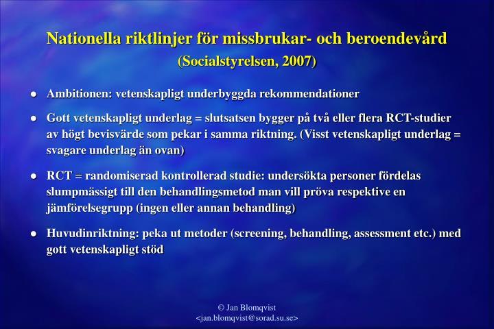 Nationella riktlinjer för missbrukar- och beroendevård