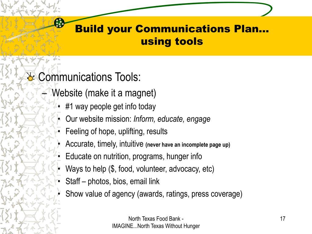 Build your Communications Plan…
