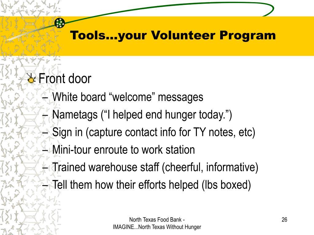 Tools…your Volunteer Program