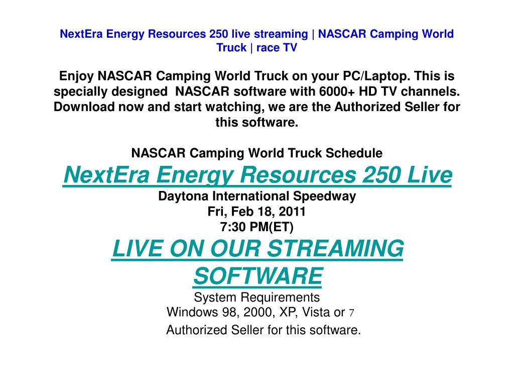 NextEra Energy Resources 250 live streaming | NASCAR Camping World Truck | race TV