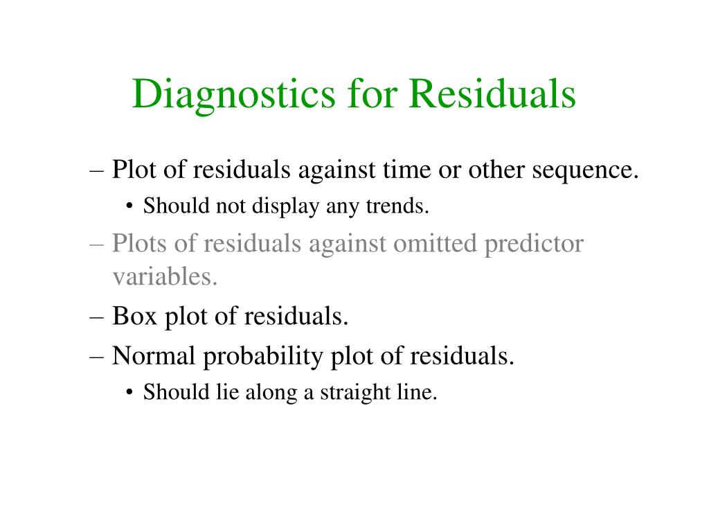 Diagnostics for Residuals