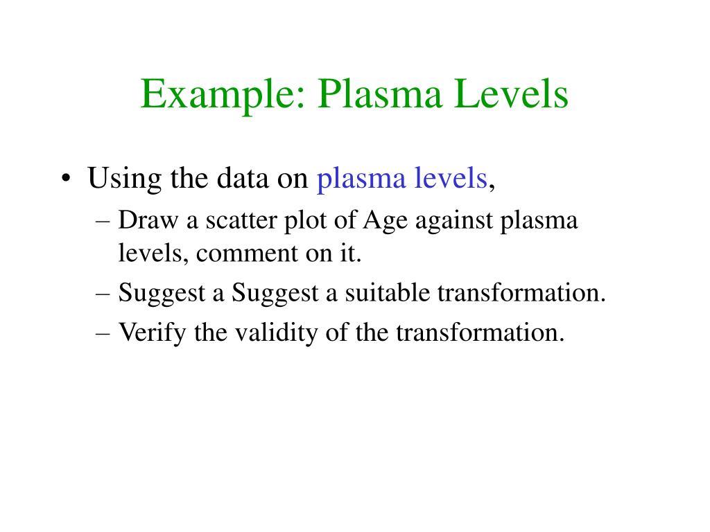 Example: Plasma Levels