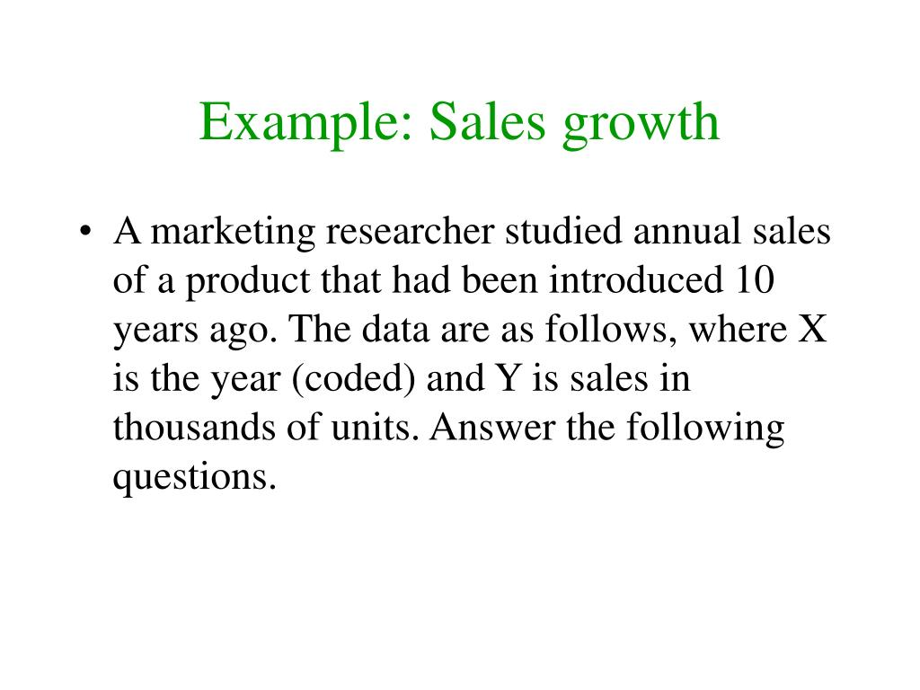 Example: Sales growth