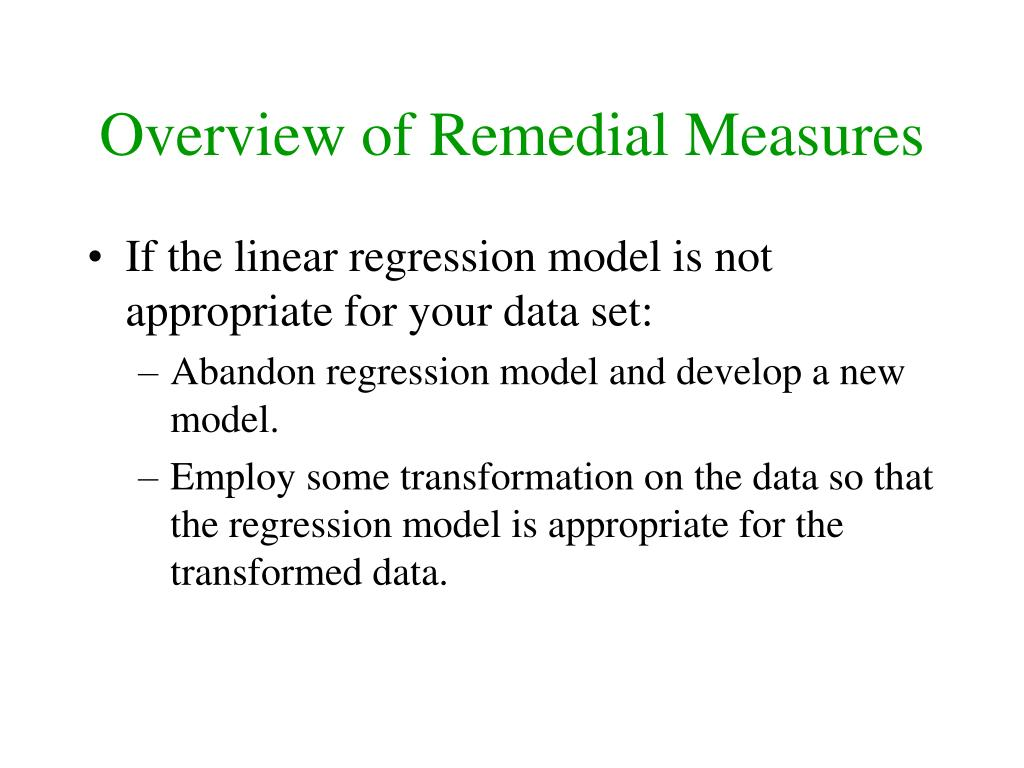 Overview of Remedial Measures