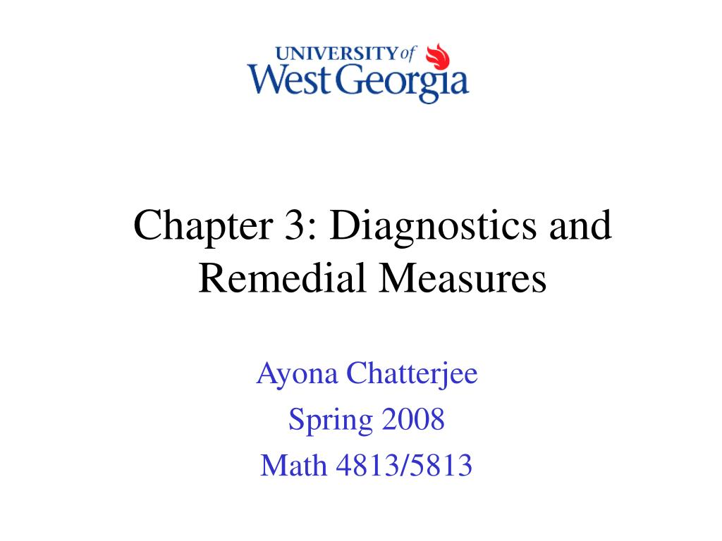 Chapter 3: Diagnostics and Remedial Measures