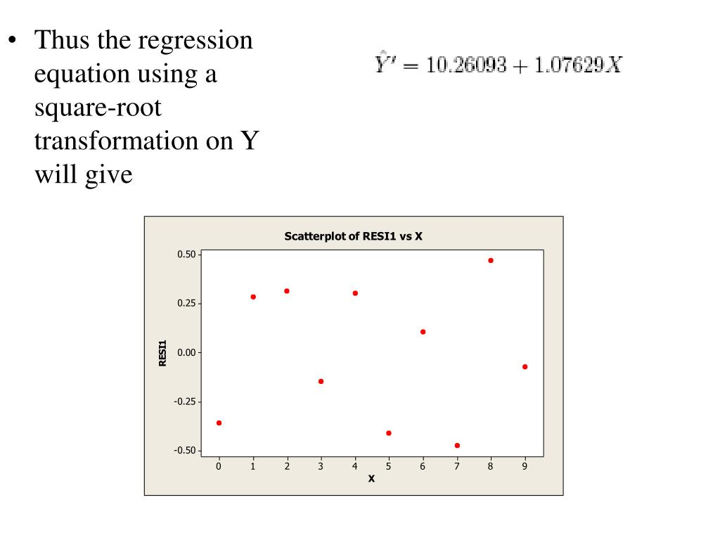 Thus the regression equation using a square-root transformation on Y will give