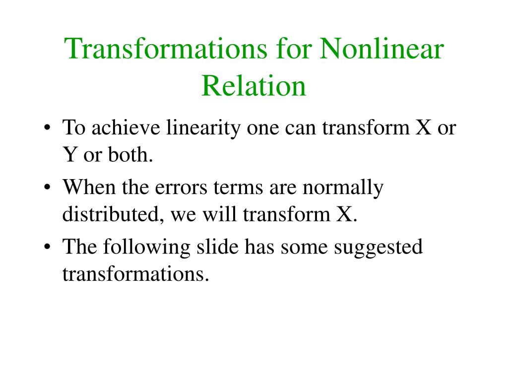 Transformations for Nonlinear Relation