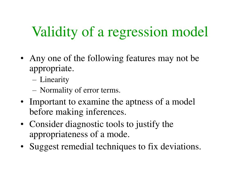 Validity of a regression model